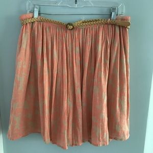 NWT Old Navy tan and peach belted floral skirt